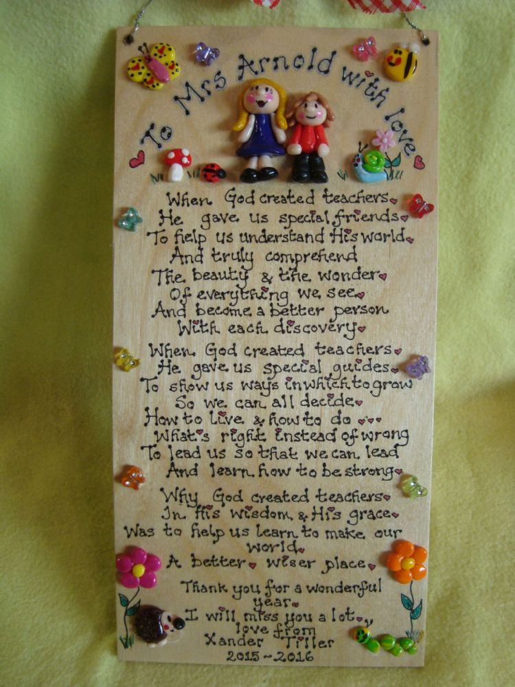 2 character Personalised Nursery,School Classroom Playgroup Sign Plaque Sentimental Poem Gift When God Created Teachers
